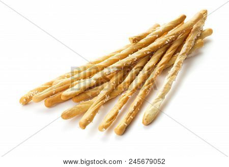 Heap Of Grissini Isolated On White Background