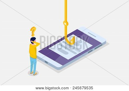Data Phishing Isometric, Hacking Online Scam On Smartphone Concept. Fishing By Email, Envelope And F