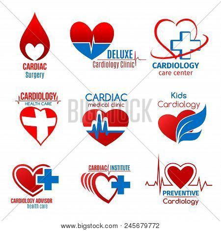 Cardiology Medicine And Cardiac Surgery Icon For Health Care Design. Heart, Heartbeat Pulse Line And
