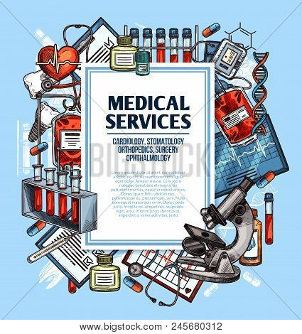 Medical Service Sketch Poster For Cardiology, Surgery And Dentistry, Orthopedics And Ophthalmology M