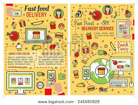 Fast Food Delivery Service Banner Set. Online Order Of Fastfood Restaurant Dish Poster With Thin Lin