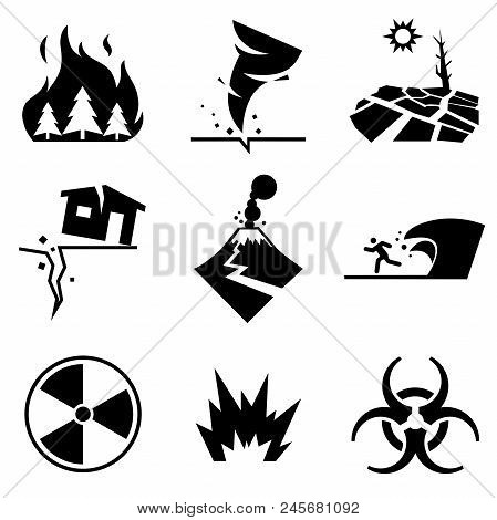 Disaster Strikes. Set Of Disaster Related Vector Icons Contains Such Icons As Earthquake, Tsunami, V