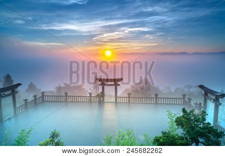 Bao Loc, Vietnam - May 15th, 2018: The Magical Dawn On The Pagoda, Surrounded By Dew And Magical Lig