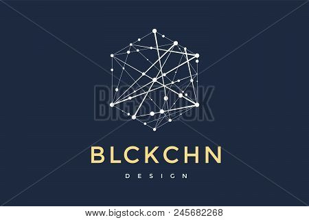 Logo For Blockchain Technology. Hexagon With Connected Lines For Logo, Brand, Label, Emblem, Brandin