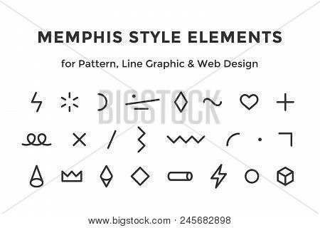 Memphis Style Elements. Set Of Memphis Design Elements, Line Graphic Design, Template For Pattern, L