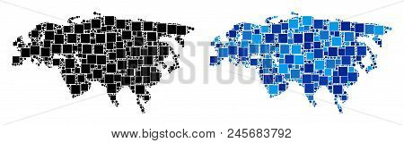 Dotted Eurasia Map Variants. Abstract Geographic Map Version Done With Blue Color Hues. Vector Patte