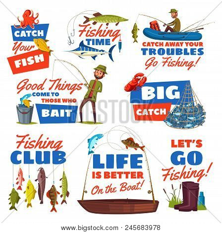 Fishing Sport Hobby Cartoon Icon With Fisherman, Catch Fish And Tackle. Fisher With Fish On Hook Of