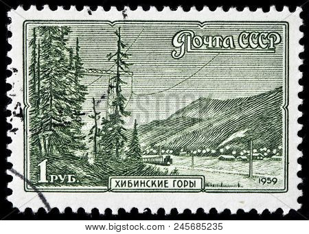 Luga, Russia - June 07, 2018: A Stamp Printed By Russia (ussr) Shows View Of The Khibiny (khibinsky)