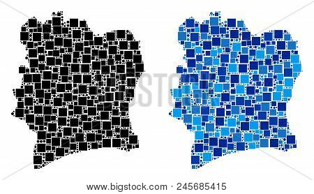 Dot Ivory Coast Map Versions. Abstract Geographic Scheme Version Done With Cold Blue Color Tinges. V