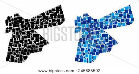 Dot Jordan Map Versions. Abstract Geographic Map Version Designed With Cold Blue Color Hues. Vector