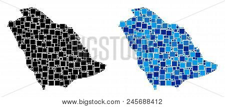 Dotted Saudi Arabia Map Versions. Abstract Geographic Scheme Version Designed With Blue Color Tints.