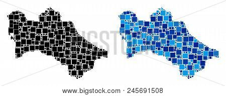 Dotted Turkmenistan Map Versions. Abstract Geographic Scheme Variant Done With Cold Blue Color Hues.