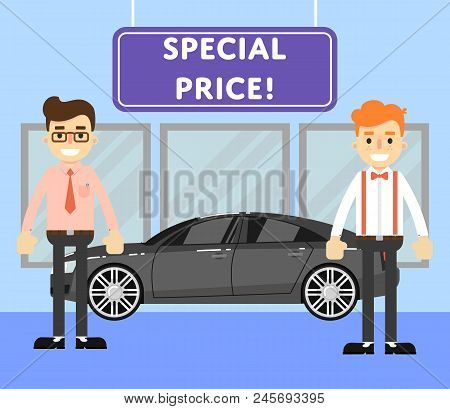 Special Price For Auto Concept With Comfortable Sedan And Happy Car Salesmen In Showroom. Auto Deale