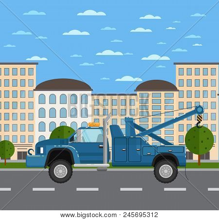 Tow Truck Or Car Evacuator On Road In Urban Landscape. Service Auto Vehicle, Emergency Transport, Ur