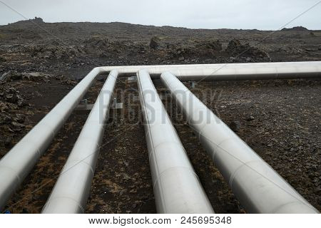 Pipelines in Iceland, geothermal heat transport on volcanic terrain