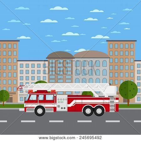 Fire Truck On Road In Urban Landscape. Service Auto Vehicle, City Emergency Transport, Urban Roadsid