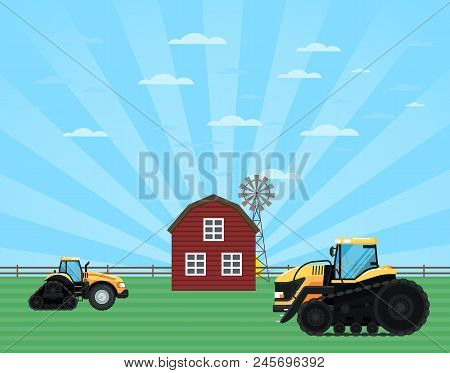 Rural Agribusinessconcept With Tractor, Windmill And Barn. Agricultural Works At Farmland, Farmer Wo