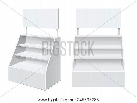 Advertising Pos Poi Display Rack Shelves For Supermarket Floor Showcase On The White Background. Fro