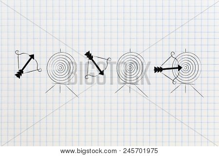 Successful Or Unsuccessful Marketing For Yout Target Market Conceptual Illustration: Bow And Arrow M