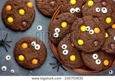Halloween Cookies, Chocolate American Cookies With Chocolate Orange And Yellow Candy, Halloween Trea