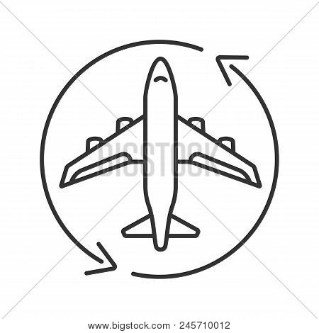 Flight Transit Linear Icon. Circle Arrow With Airplane Inside. Thin Line Illustration. Plane Transfe