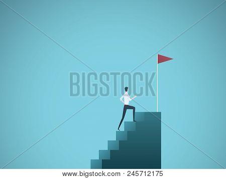 Business Ambition Vector Concept With Businessman Jump On Graph Columns. Success, Achievment, Motiva