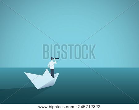 Business Vision Or Visionary Vector Concept With Businesswoman On Paper Boat With Telescope. Symbol
