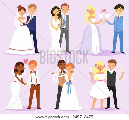 Wedding Couple Vector Married Bride Or Fiancee And Bridegroom Or Fiance Characters On Wed Illustrati
