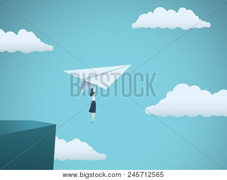 Woman Leader In Business Vector Concept. Businesswoman Flying On Paper Plane Off A Cliff As Symbol O