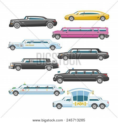 Limousine Vector Limo Luxury Car And Retro Auto Transport And Vehicle Automobile Illustration Set Of