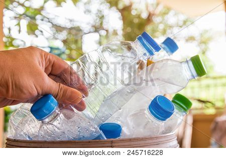 Plastic Bottle With Caps For Recycle Waste,lot Of Water Bottle Waste Separation Concept Selective Fo