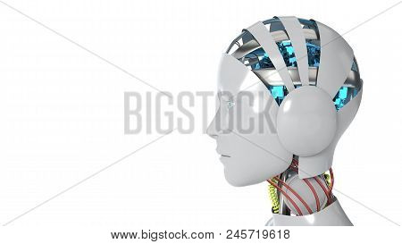 Robot Woman Working White Background, 3d Render
