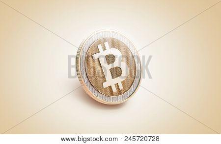 Blank Gold Shiny Bitcoin Mockup, 3d Rendering. Empty Golden Bit Coin Piece Of Money Mockup, Side Vie