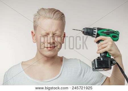 Dont Blow My Mind, Man Figuratively Drilling A Temple Suffering From Problems At Work.