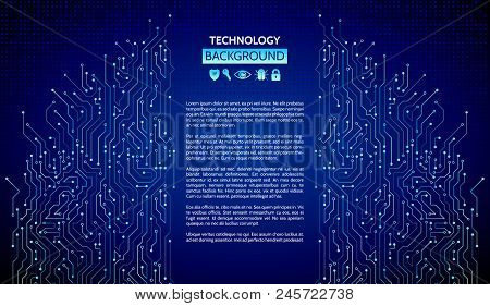 High-tech Technology Texture On The Blue Background. Circuit Board Vector Illustration. Internet Dat