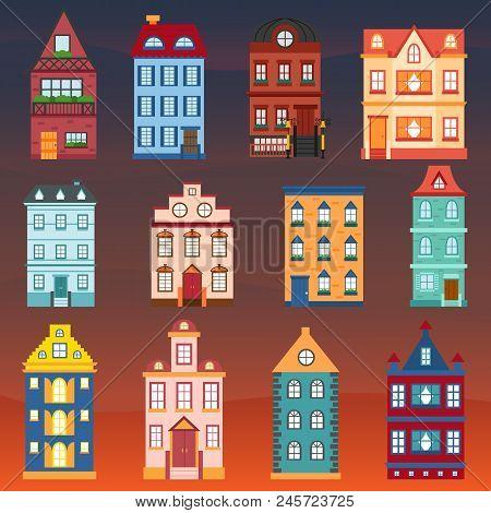 Vector Cartoon Set Of City Houses