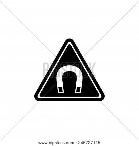 Strong Magnetic Field Warning. Flat Vector Icon Illustration. Simple Black Symbol On White Backgroun