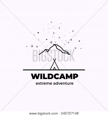 Trendy Camping Logo Badge In Outline Style. Camping Logo Illustration.. Line Camp Icons For Your Des