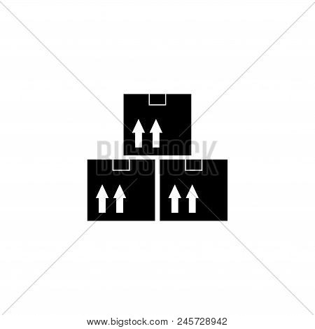 Cardboard Boxes Delivery Cargo. Flat Vector Icon Illustration. Simple Black Symbol On White Backgrou