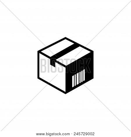 Cardboard Box. Flat Vector Icon Illustration. Simple Black Symbol On White Background. Cardboard Box