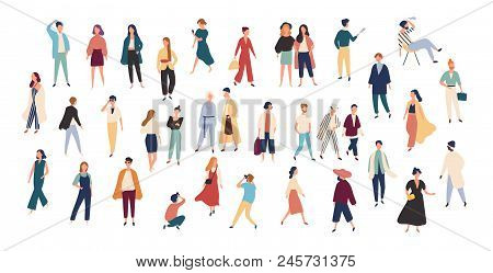 Crowd Of Tiny People Wearing Stylish Clothes. Fashionable Men And Women At Fashion Week. Group Of Ma