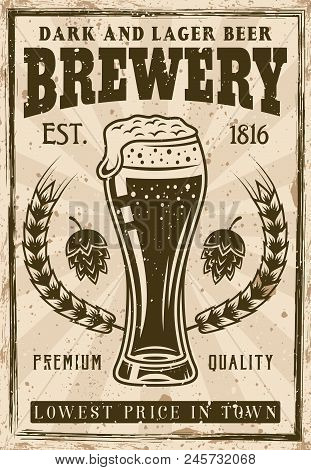 Brewery Vintage Poster, Beer Glass With Foam And Bubbles Vector Illustration. Layered, Separate Grun