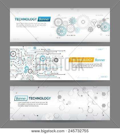 Abstract Digital Technology Web Design Concept. High Tech Computer Innovation Web Tamplates . Mechan