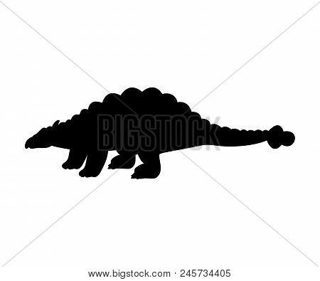 Silhouette Ankylosaurus Dinosaur Jurassic Prehistoric Animal. Vector Illustration