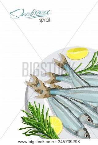 Sprat Sketch Fish Icon. Isolated Marine Atlantic Ocean Sprats With Rosemary And Lemon On A Plate. Is