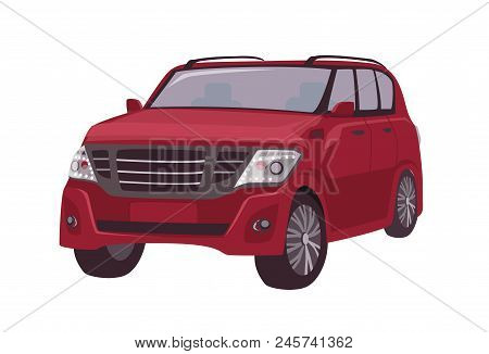 Modern Red Crossover, Cuv Car Or Automobile Isolated On White Background. Elegant Stylish Premium Mo