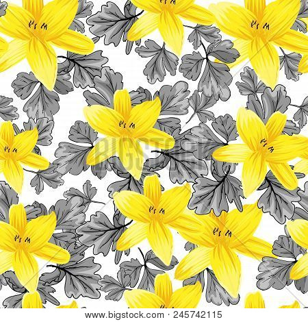 Seamless flower garder liliya pattern. Botany flora decoration. Vector drawing. poster