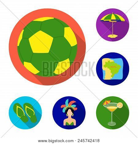 Country Brazil Flat Icons In Set Collection For Design. Travel And Attractions Brazil Vector Symbol