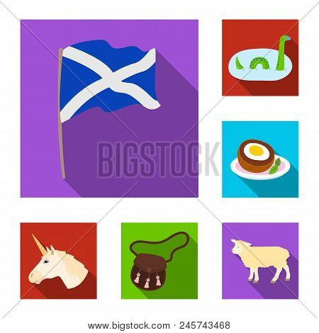 Country Scotland Flat Icons In Set Collection For Design. Sightseeing, Culture And Tradition Vector