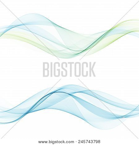 Abstract Vector Background, Blue And Green Waved Lines For Brochure, Website. Transparent Wave